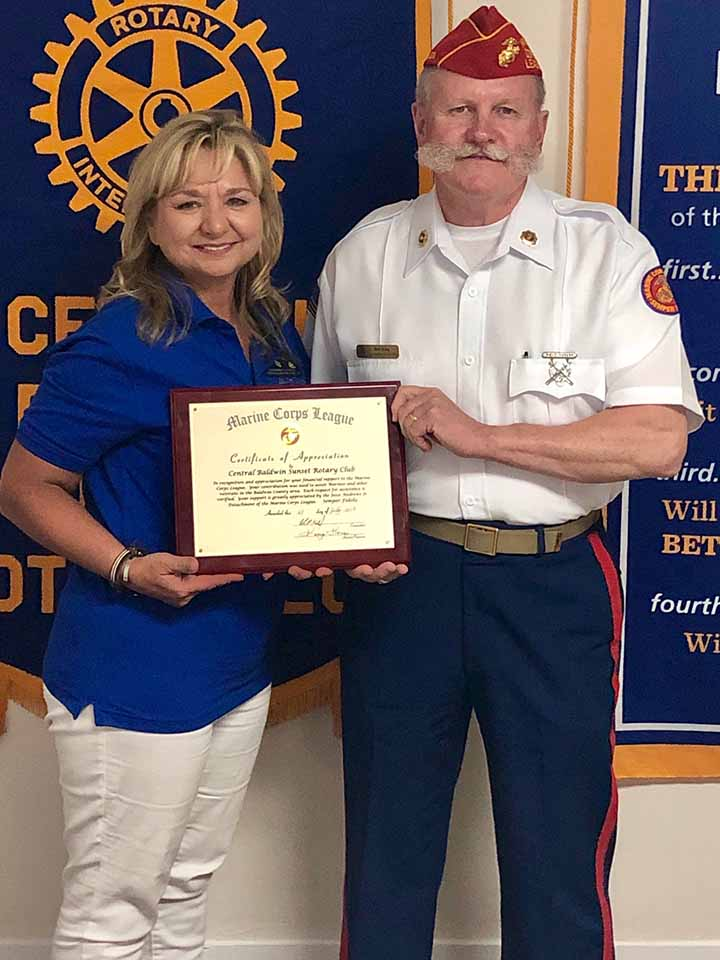 Detachment 1378 Commandant Bob King presents a Certificate of Appreciation to the Central Baldwin Sunset Rotary Clubjpg